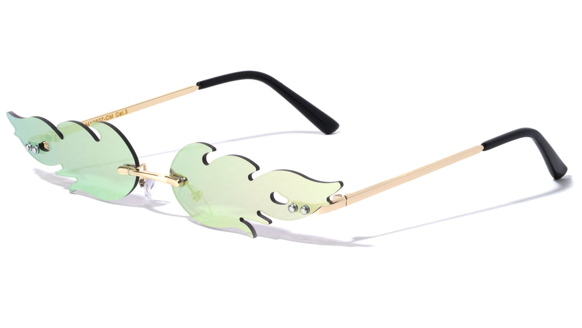 Color Mirror Rimless Flame Wholesale Sunglasses