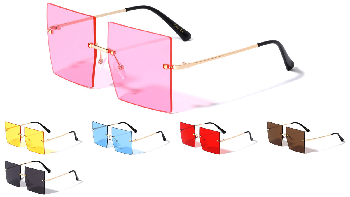 Rimless Squared Butterfly Color Lens Wholesale Sunglasses