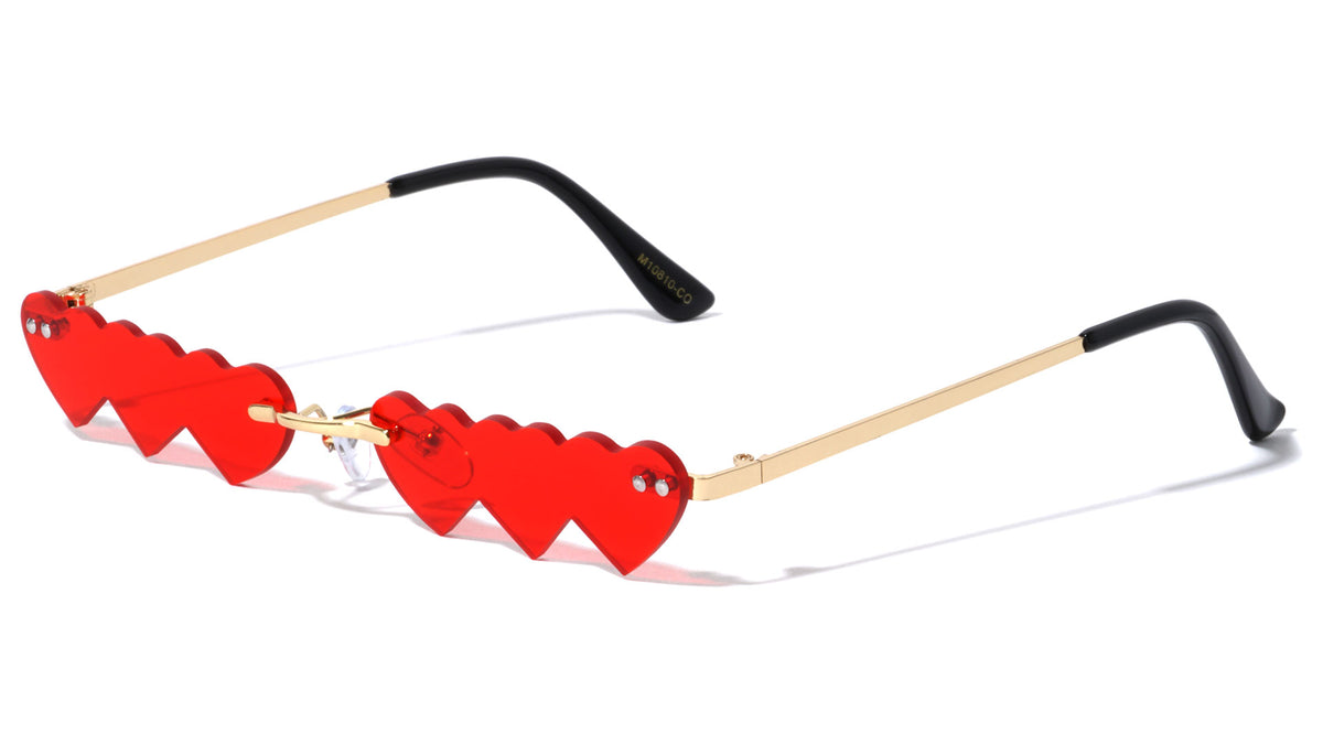 Triple Heart Shaped Rimless Color Lens Wholesale Sunglasses