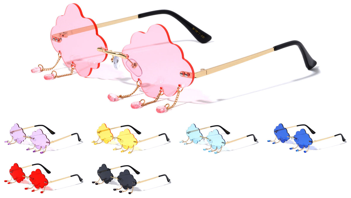 Cloud Bead Rimless Color Lens Wholesale Sunglasses