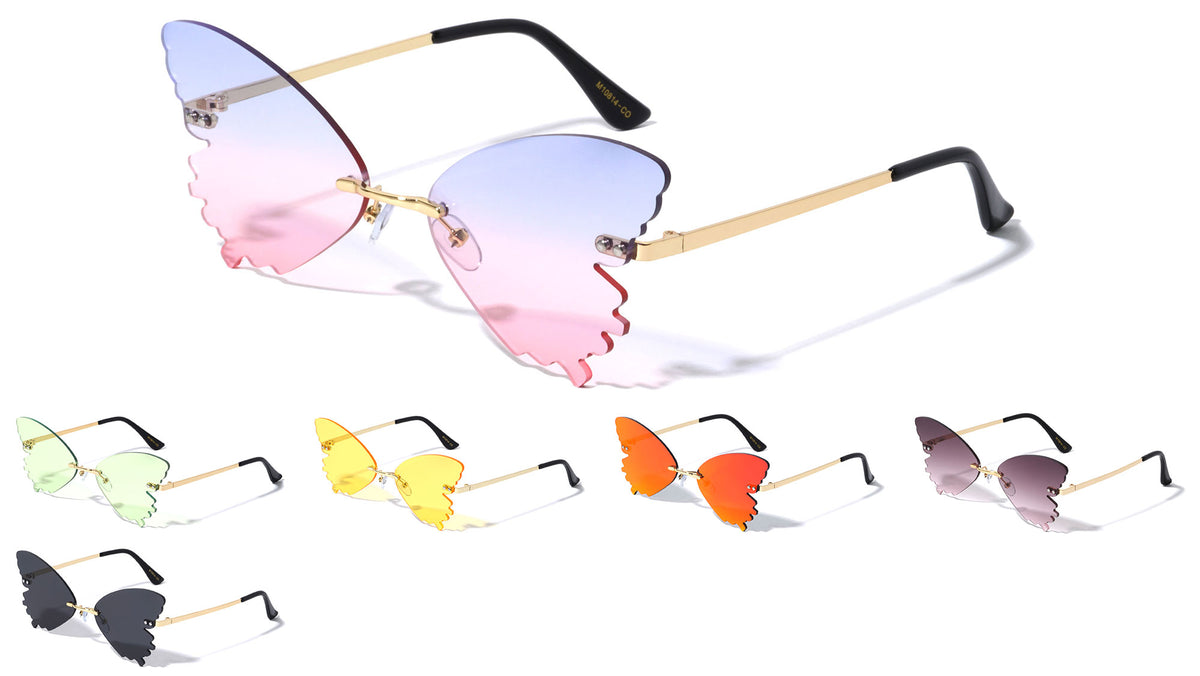 Butterfly Splatter Rimless Color Lens Wholesale