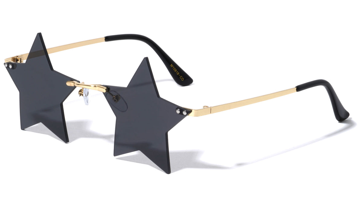 Star Rimless Color Lens Wholesale Sunglasses