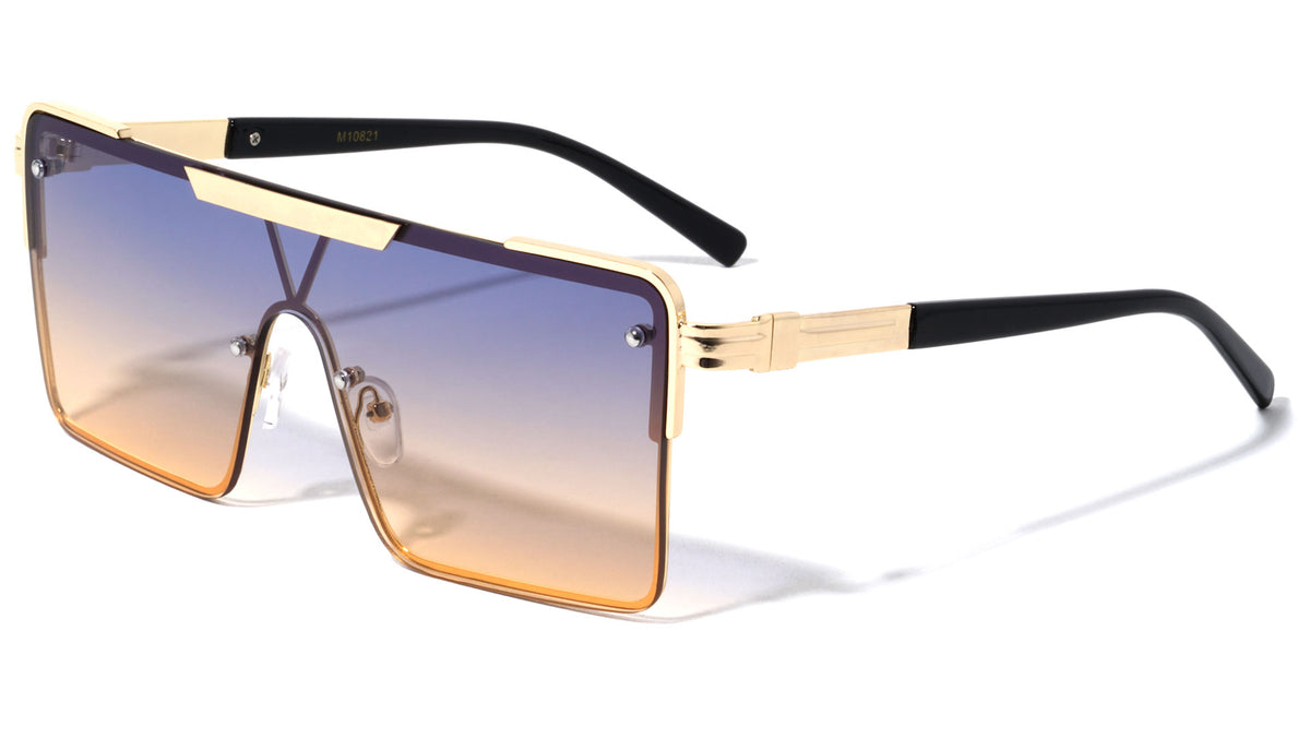 Rectangular One Piece Shield Wholesale Sunglasses