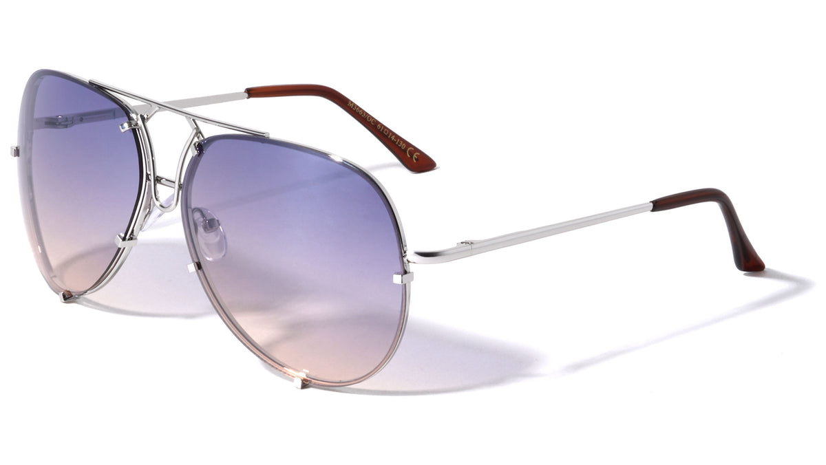 Rimless Oceanic Color Aviators Spring Hinge Wholesale Bulk Sunglasses