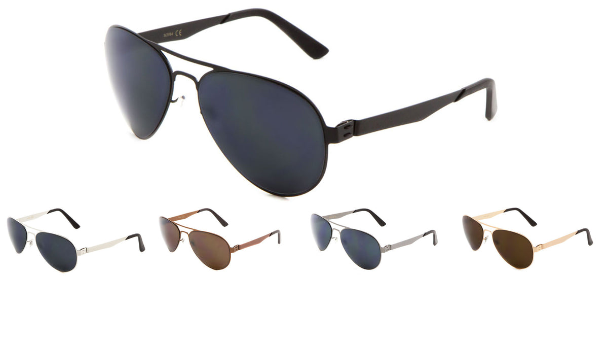 Flat Thin Brow Bar Nose Aviators Wholesale Bulk Sunglasses