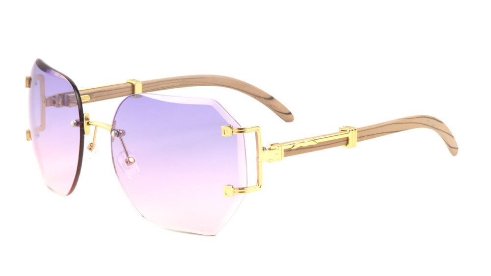 Rimless Butterfly Oceanic Color Cutout Metal Accent Wood Pattern Sunglasses
