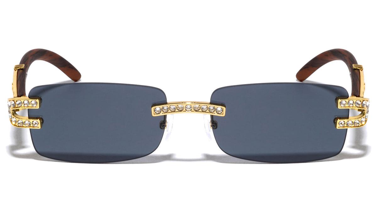 Rhinestone Rimless Rectangle Wholesale Sunglasses