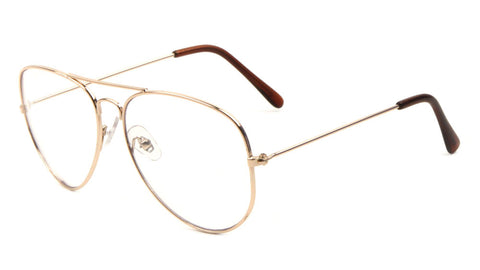 M6258-GOLD-CLR - Gold Frame Clear Lens Aviators Wholesale Glasses