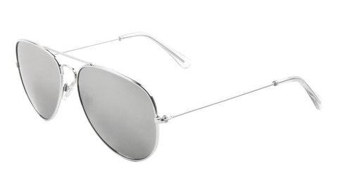 M6258-SILVER - Silver Aviators Wholesale Bulk Sunglasses
