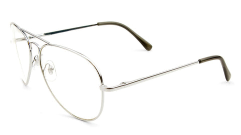 M6259-CLR-SP - Clear Lens Spring Hinge Aviators Wholesale Bulk Glasses
