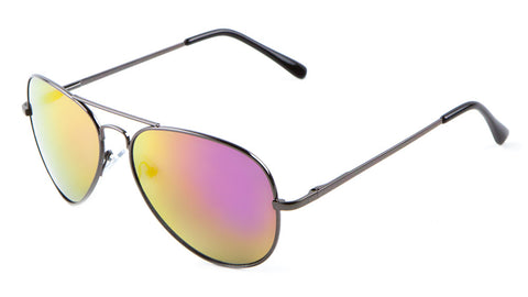 M6259-CM - Color Mirror Spring Hinge Aviators Wholesale Bulk Sunglasses