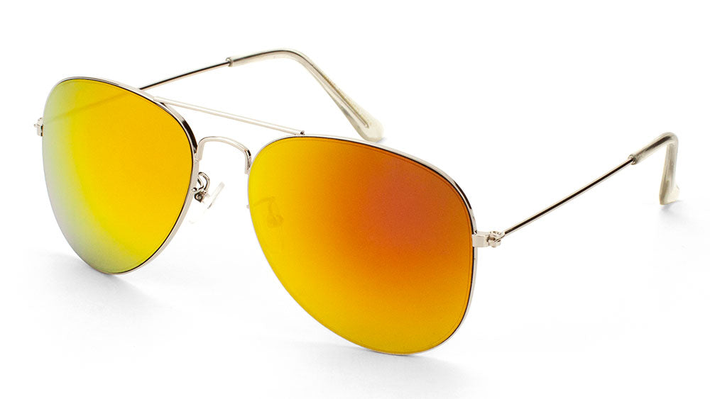 Silver Frame Color Mirror Lens Aviators Bulk Sunglasses