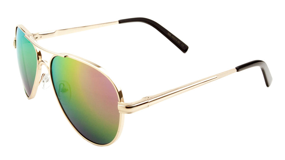 MICA Spring Hinge Aviators Color Mirror Wholesale Bulk Sunglasses