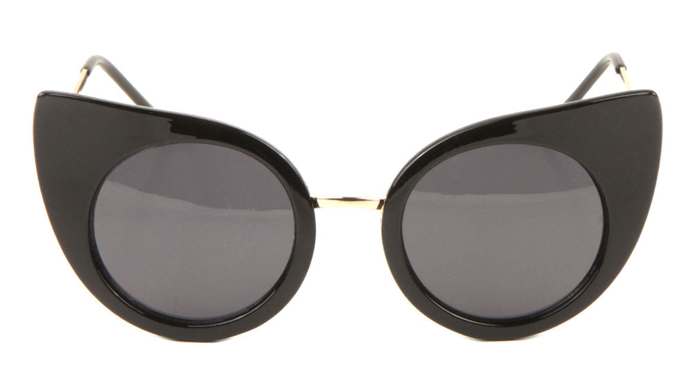 Curved Pointy Cat Eye Round Lens Wholesale Bulk Sunglasses