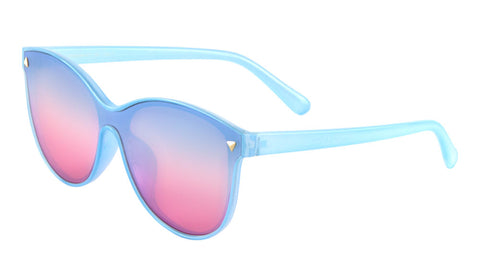Cat Eye One Piece Flat Oceanic Color Sunglasses