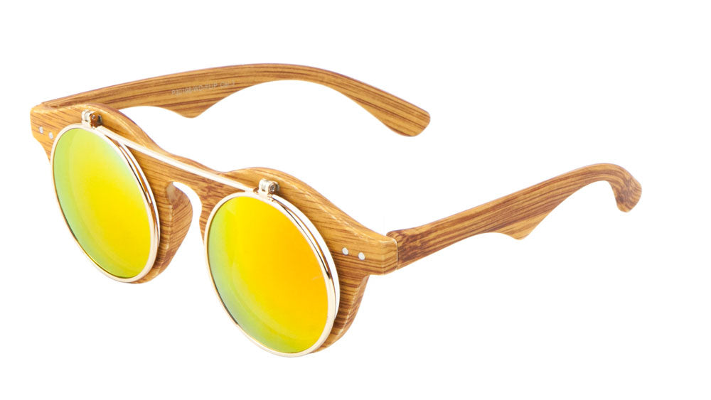 Retro Round Flip Wood Pattern Wholesale Bulk Sunglasses