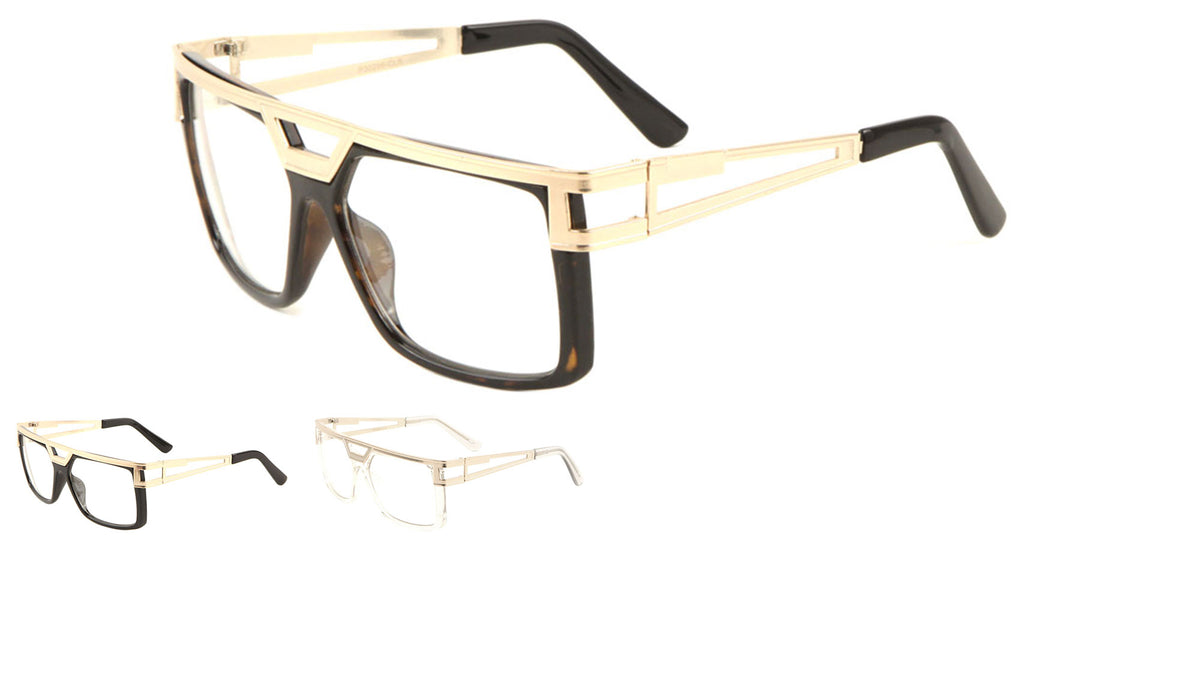 Squared Flat Top Clear Lens Wholesale Bulk Glasses