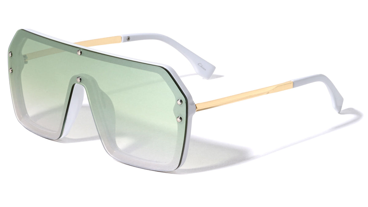 Flat Top Squared Oversized Shield Sunglasses Wholesale