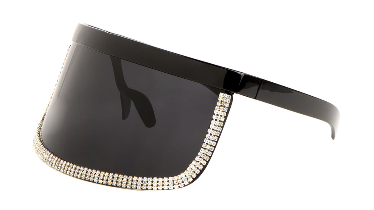 Rhinestone Black Visor Shield Wholesale Sunglasses