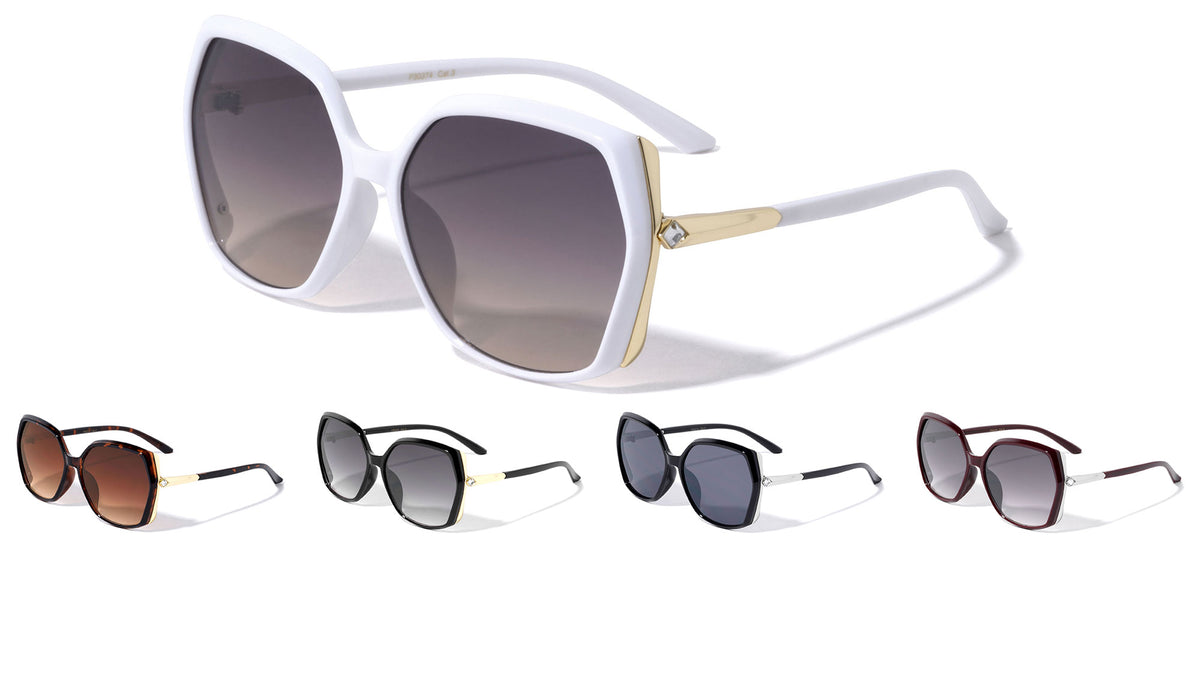 Angled Rhinestone Temple Butterfly Wholesale Sunglasses