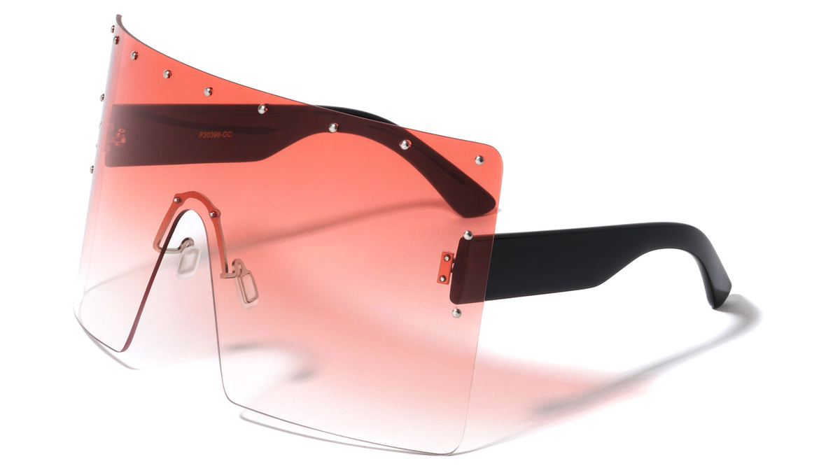 Oversized Rimless Studded Oceanic Color Wholesale Sunglasses