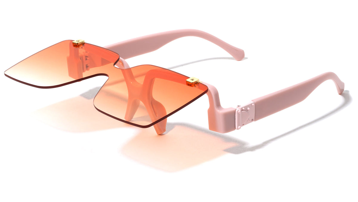 Rimless Flip-up Color Butterfly Shield Fashion Wholesale Sunglasses