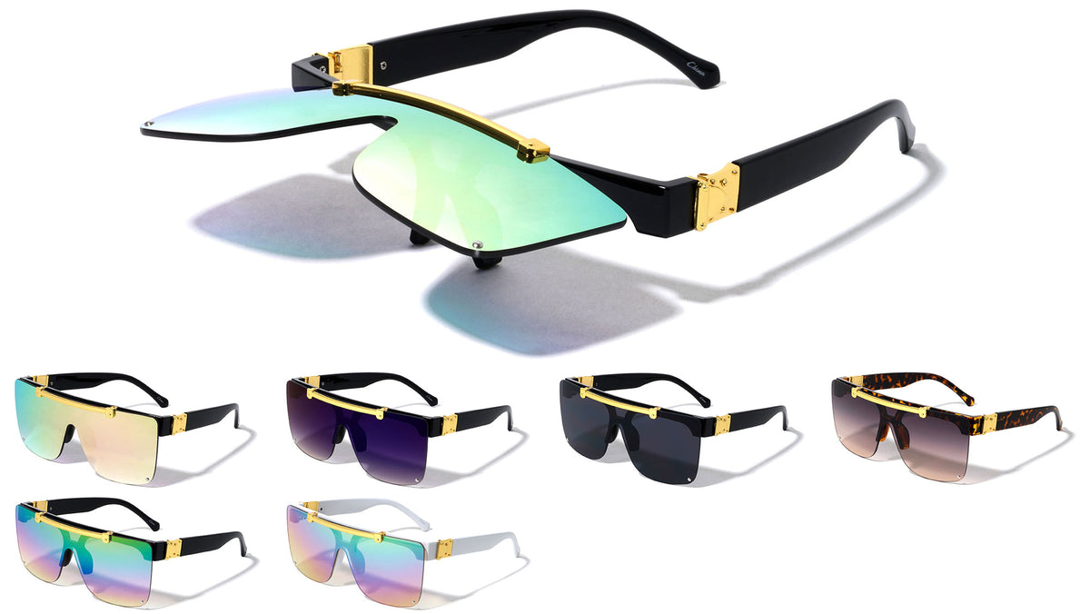 Rimless Flip-up Classic Shield Fashion Wholesale Sunglasses
