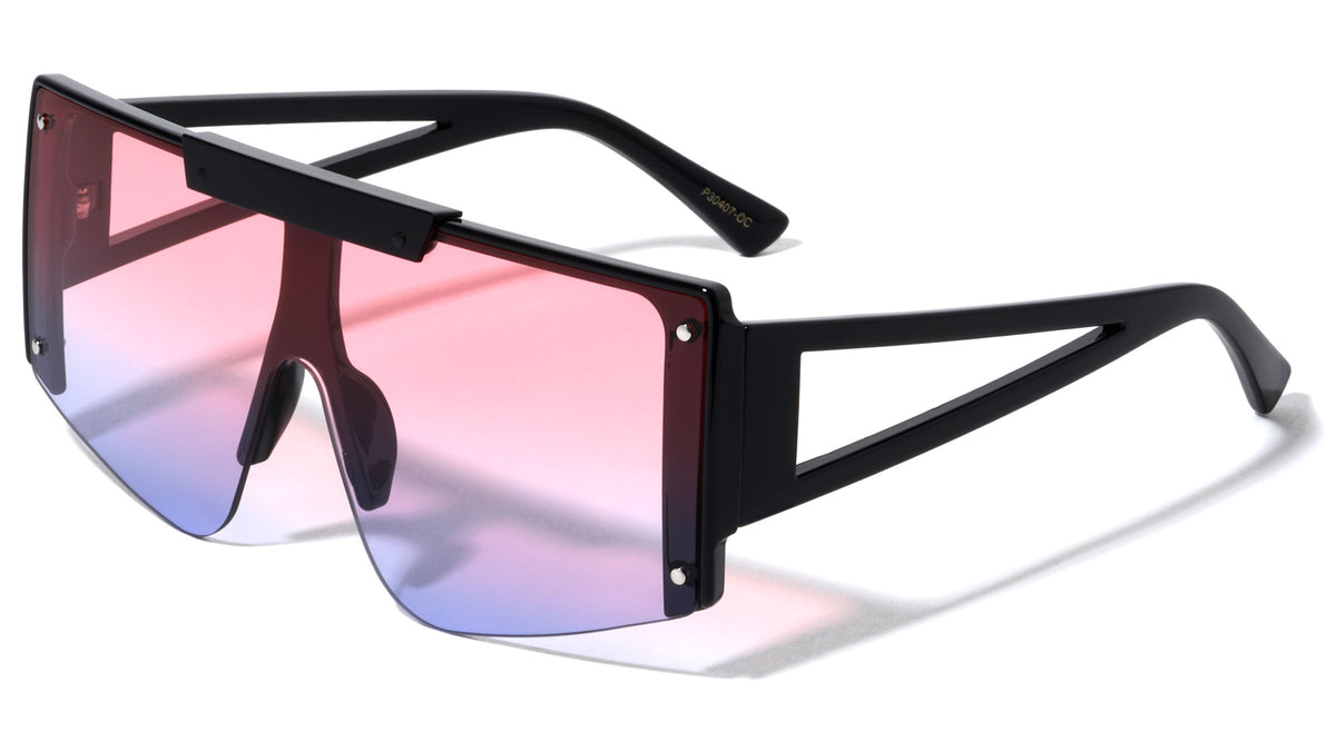 Oceanic Color Flat Top One Piece Shield Wholesale Sunglasses