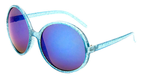 Crystal Glitter Color Mirror Round Wholesale Bulk Sunglasses