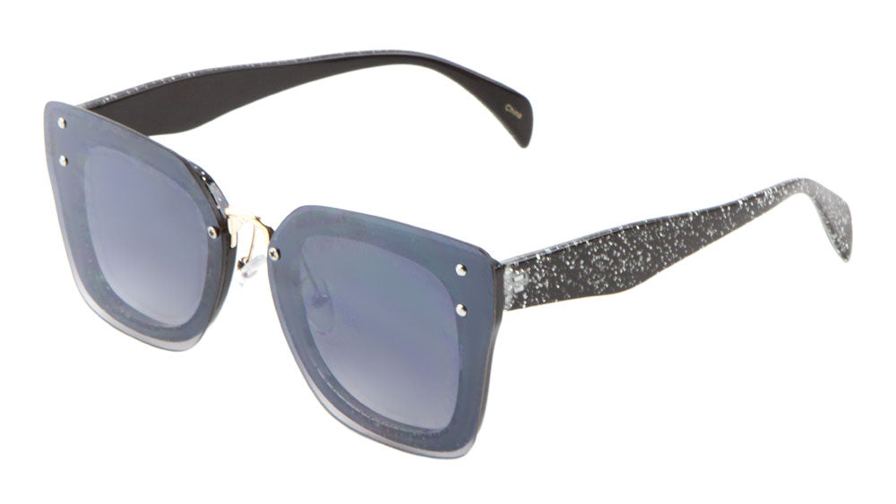Glitter Rimless Squared Butterfly Wholesale Bulk Sunglasses