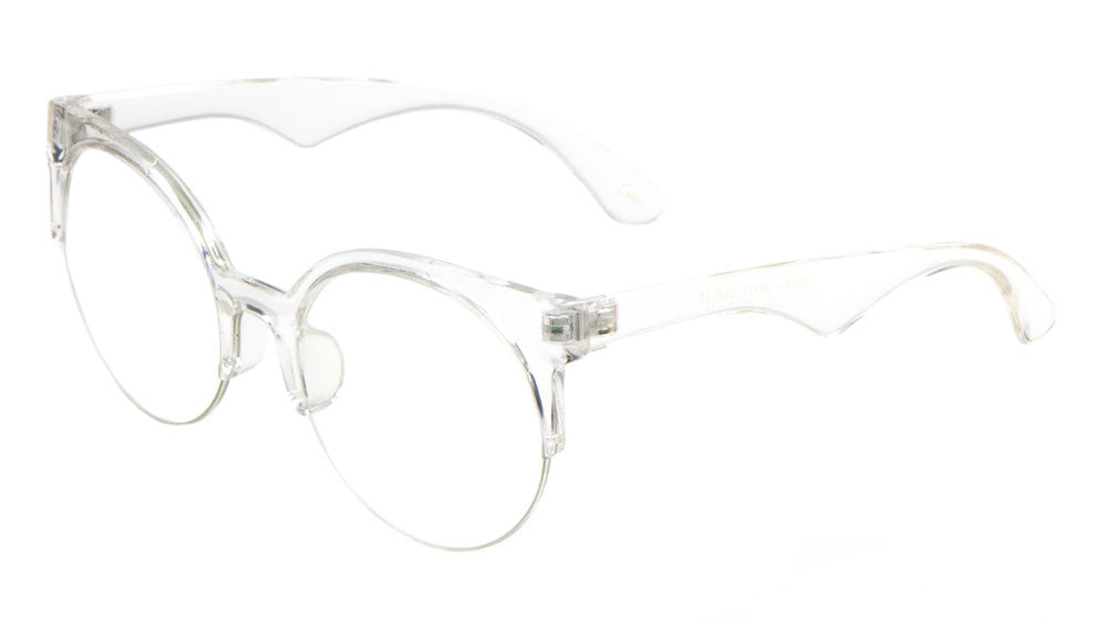 P6193-CRYTL-CLR - Crystal Semi Rimless Clear Lens Wholesale Glasses