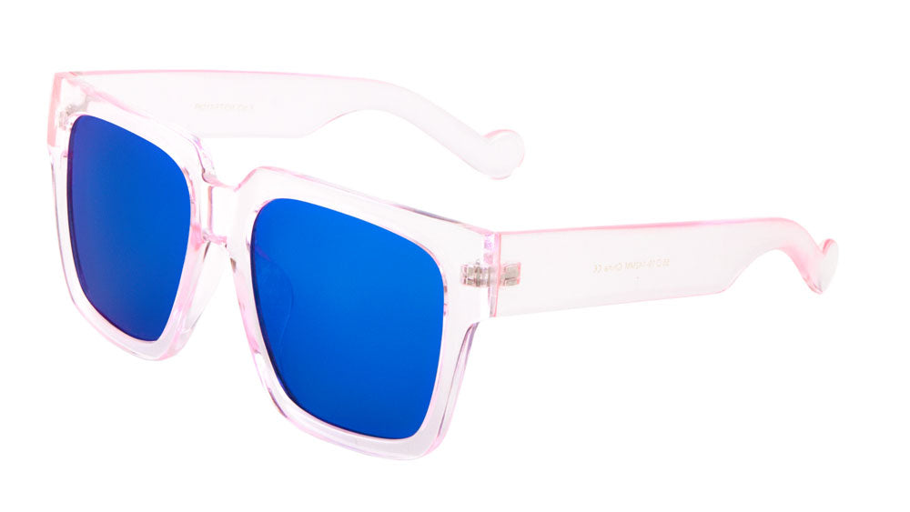 Crystal Squared Flat Color Mirror Lens Wholesale Bulk Sunglasses