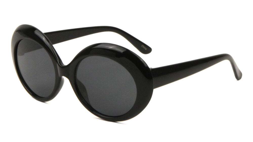 Thick Black Oval Fashion Sunglasses Wholesale