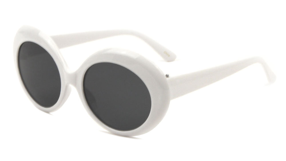 Thick White Oval Fashion Sunglasses Wholesale