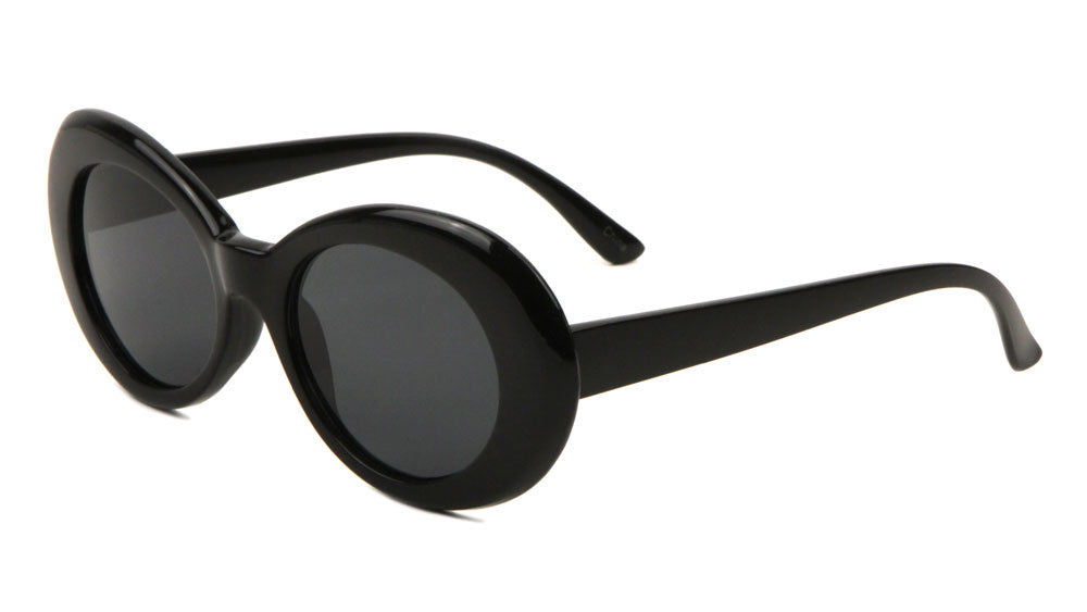 Thick Black Oval Sunglasses Wholesale