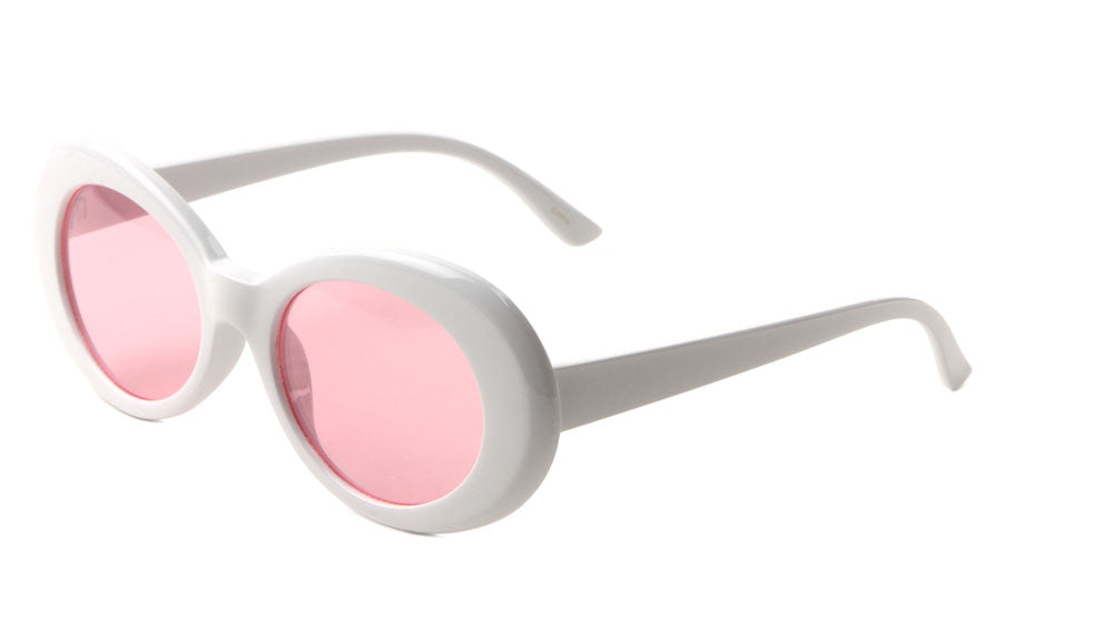 Thick White Oval Color Lens Wholesale Sunglasses