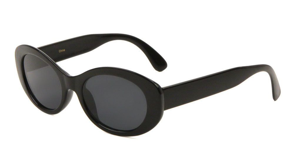 Black Thin Oval Wholesale Bulk Sunglasses