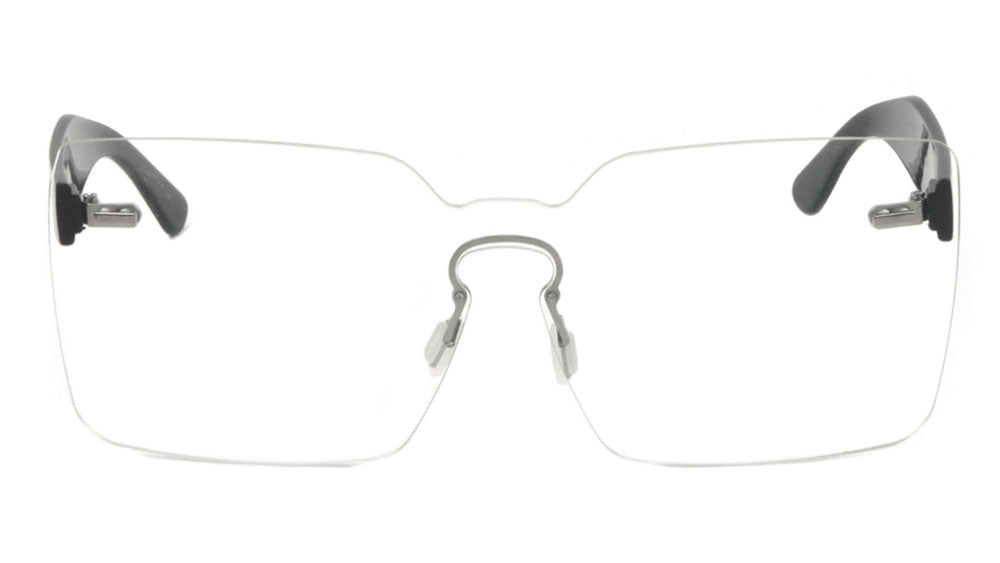Rimless Solid One Piece Keyhole Nose Bridge Clear Lens Wholesale Bulk Glasses