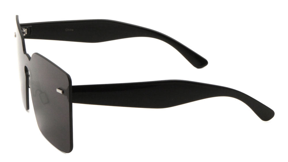 Squared Rimless Solid One Piece Color Mirror Bulk Sunglasses
