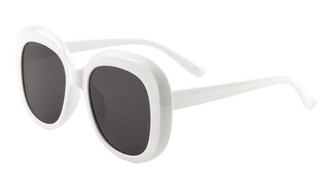 White Thick Rim Squared Oval Wholesale Bulk Sunglasses