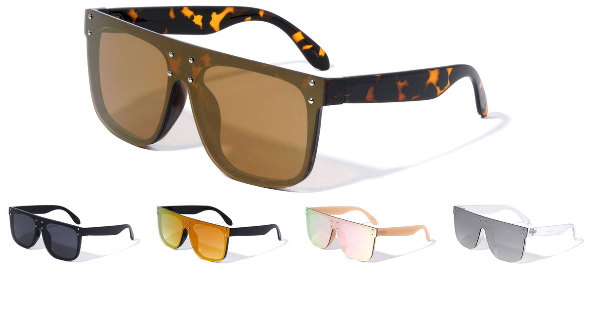 Flat Top Color Mirror Shield Sunglasses Wholesale