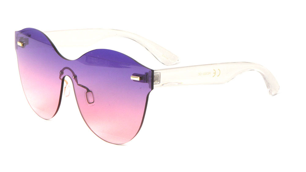 Rimless One Piece Oceanic Color Lens Wholesale Bulk Sunglasses