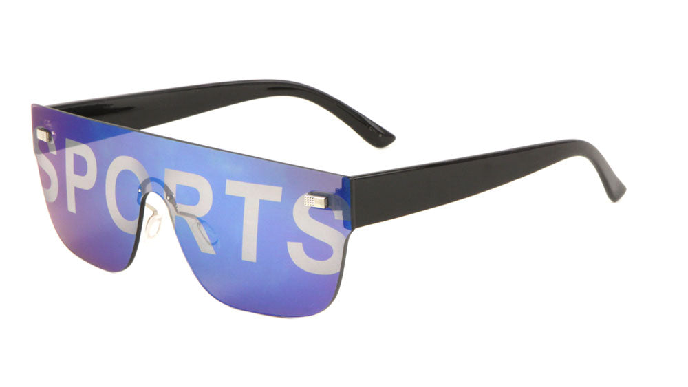 Sport Rimless One Piece Color Mirror Wholesale Bulk Sunglasses