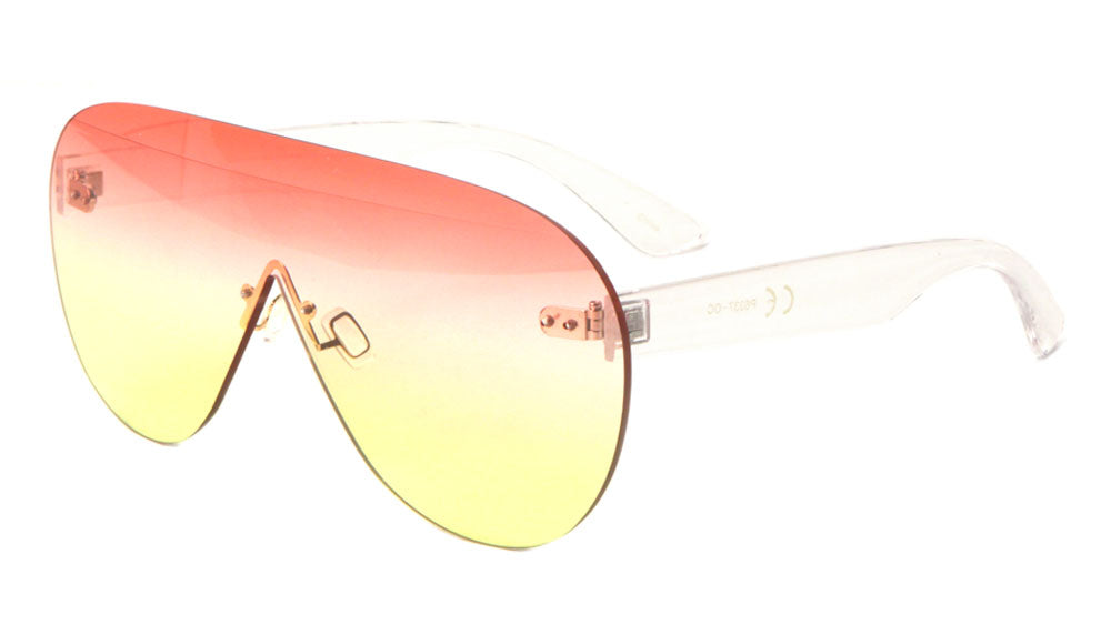 Rimless Rounded One Piece Shield Oceanic Color Lens Wholesale Bulk Sunglasses