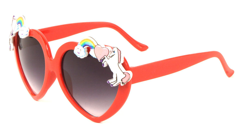 P6351-HEART - Heart Shaped Rainbow Unicorn Wholesale Sunglasses