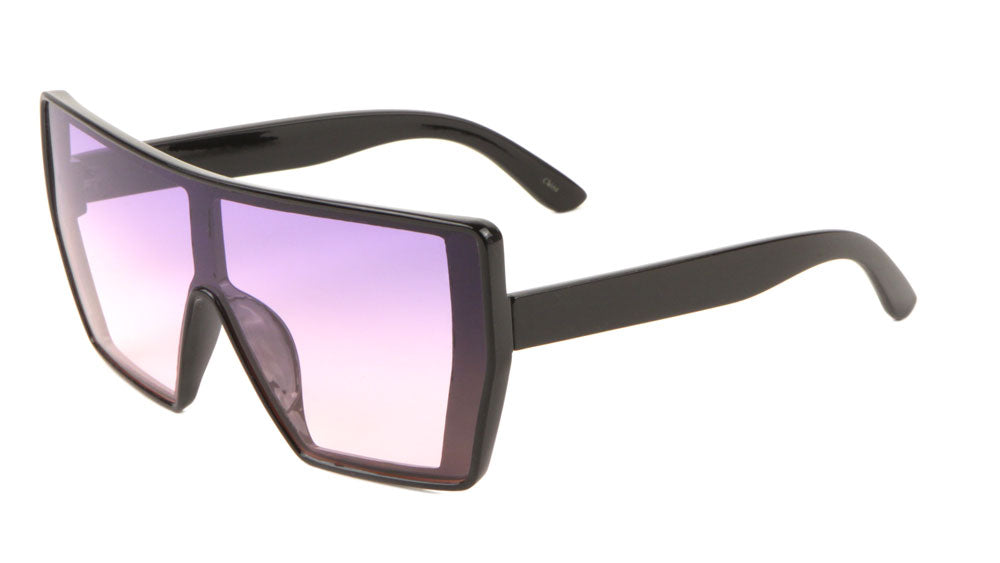 Flat Top One Piece Shield Oceanic Color Sunglasses Wholesale