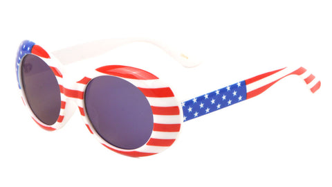 P6368-FLAG-BLUE-RV - Oval American Flag Blue Lens Wholesale Sunglasses