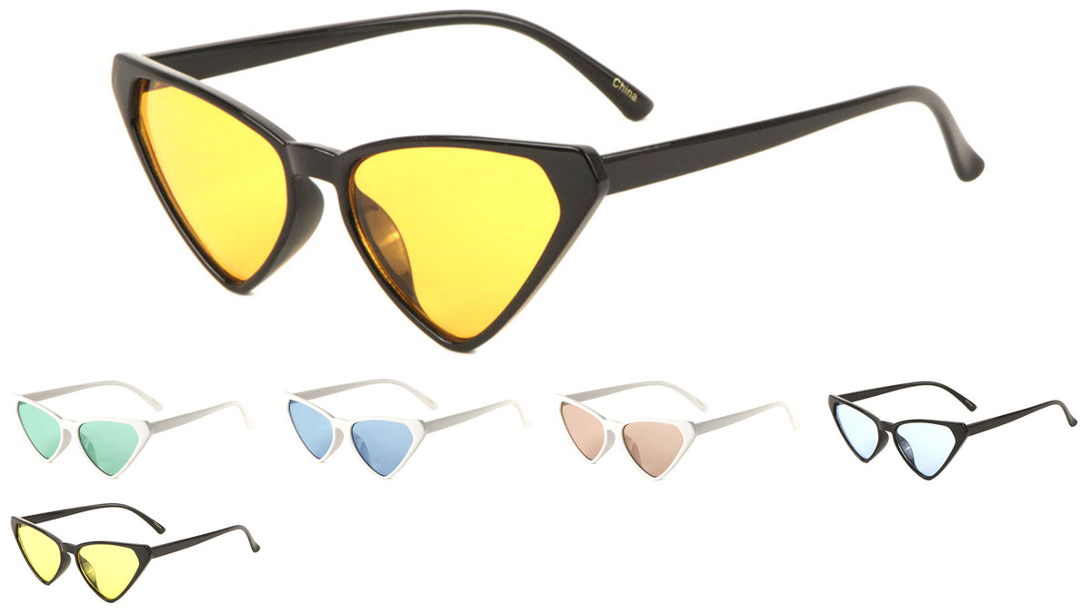Thin Cat Eye Color Lens Sunglasses Wholesale