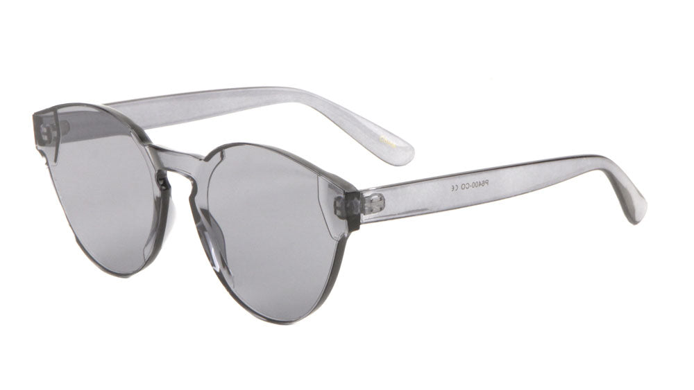 Rimless One Piece Shield Color Lens Wholesale Sunglasses