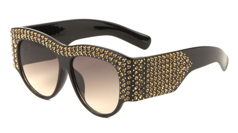 P6408-RH - Rhinestoned Thick Frame Wholesale Fashion Sunglasses